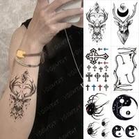 waterproof temporary tattoo sticker simple line geometric deer spider black arm fake tatto man woman child body art flash tatoo