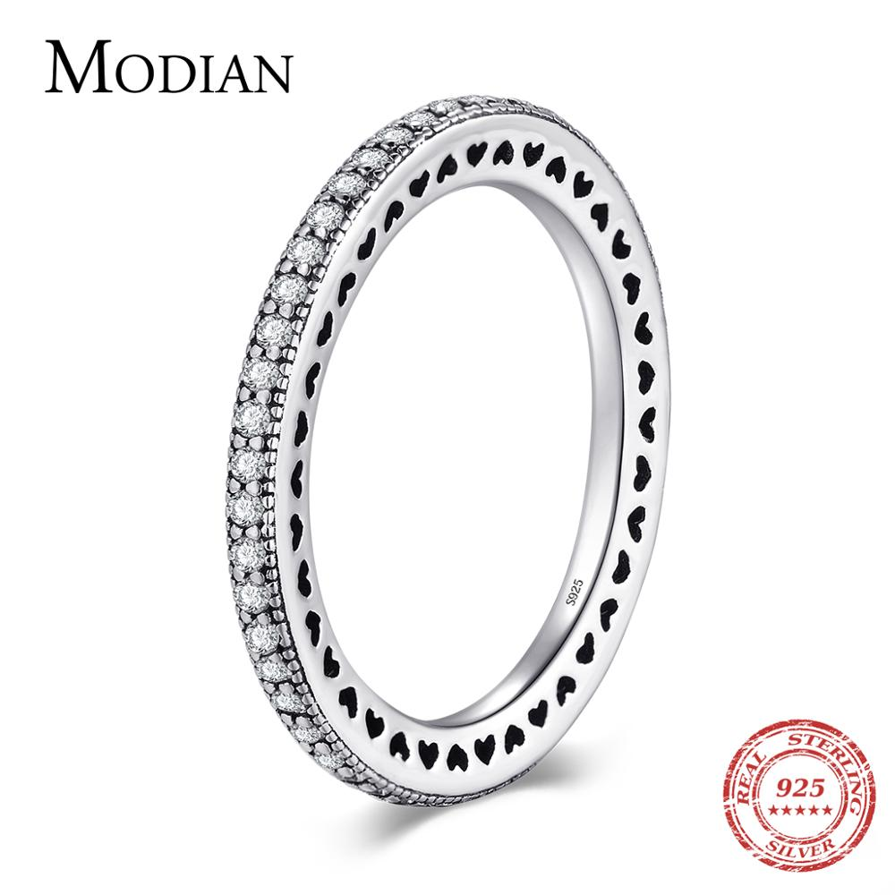 Modian Authentic 925 Sterling Silver Hearts Ring Clear CZ Fashion Stackable Vintage Classic Luxury F