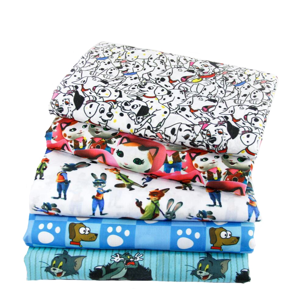 50*140 см мультяшная Ткань Животное полиэстер хлопок ткань для ткани детские постельные принадлежности домашний текстиль для шитья кукольных штор декор, c413