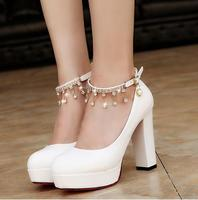 Women Bridal Shoes Super High Heels Pumps String Bead Ankle Strap Platform Pump Dress Shoes Wedding Shoes zapatos mujer 896