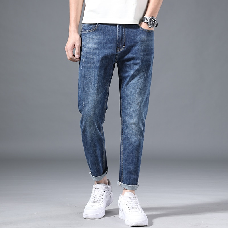 Jeans Men's Nine-Point Slim Stretch Pants for Male High-End Fashion Brand Trend Spring and Summer Thin Section