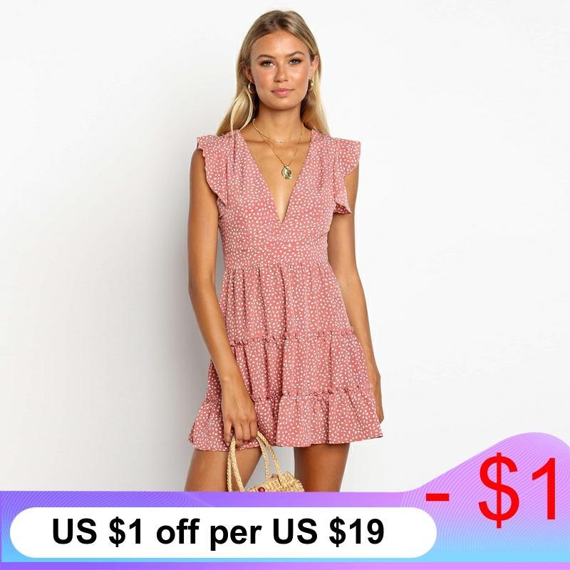 2020 Summer Mini Holiday Beach Dress Women Bohemian Print Dress Casual V-Neck Elegant Ruffles Short Sleeve A-Line Dress Vestidos
