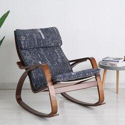 Cadeira de balanço contemporânea, cadeira de balanço de tecido de algodão para adulto, cadeira de madeira