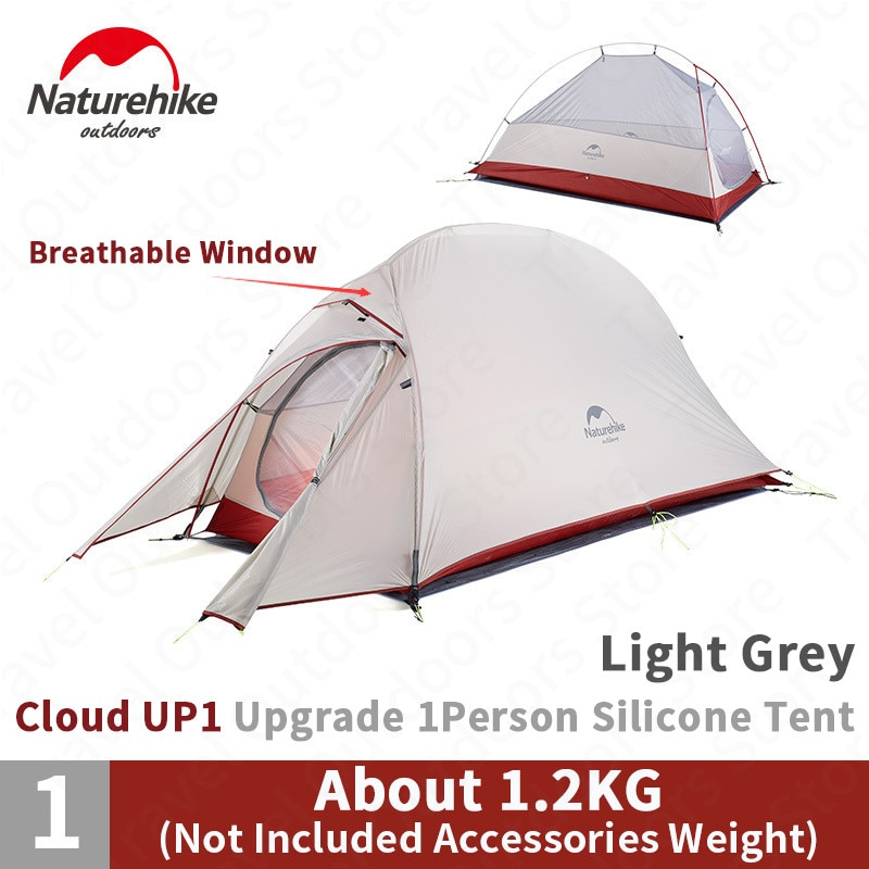 Naturehike-خيمة تخييم خارجية فائقة الخفة لشخص واحد ، 1.2 كجم ، محمولة ، للتنزه والشاطئ ، ترقية Cloud Up