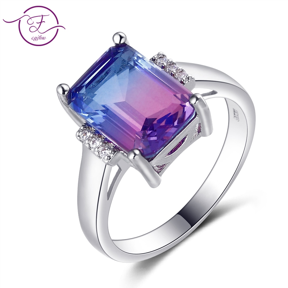 FCGJHW Multicolor grande Rectangular 10*14MM turmalina artesanía zirconia anillo femenino compromiso joyería para fiesta y boda aniversario