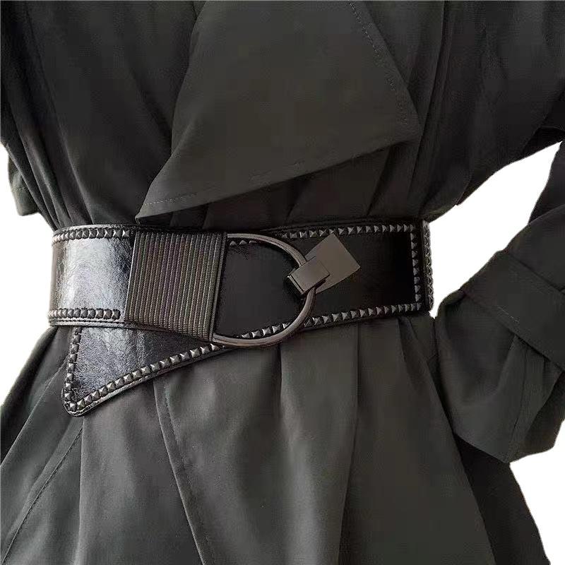 New Fashion Elastic Wide Belt Strap Vintage Women Faux Leather Buckle Elastic Wide Belt Strap Solid