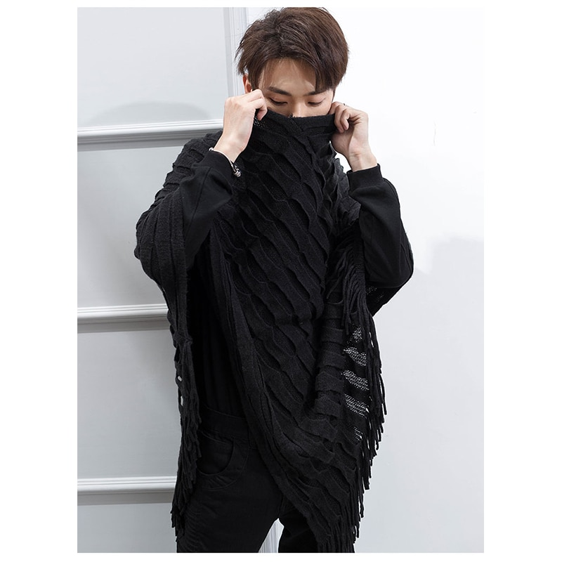 Shawl men's Korean fashionable and handsome knitted sweater Cape tassel crew neck for all kinds of wear, shoulder protection and