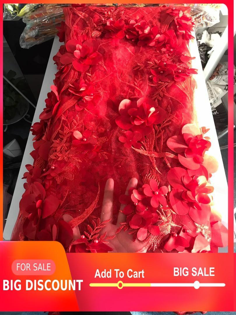 Gran venta encaje rojo color 3d flor tejido bordado con encaje bonito diseño Nigeria señora