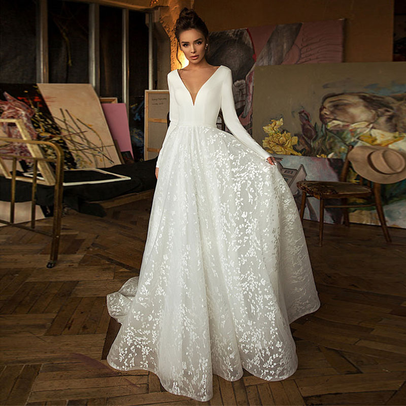 Boho Robe De Mariee Vestido Novia Wedding Dress Satin Longue Long Sleeves Robe De Soiree Simple Brid