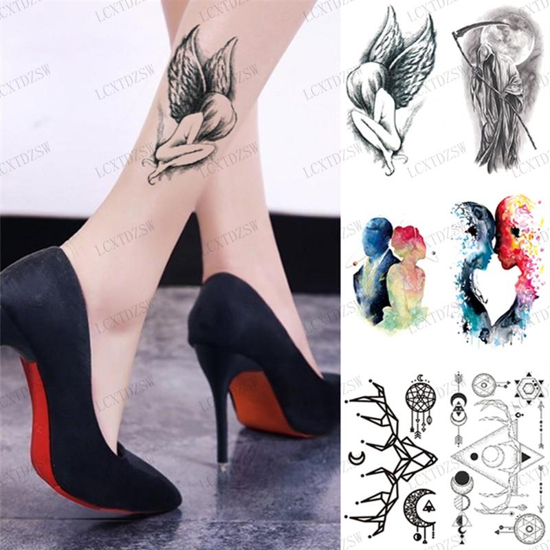 Водостойкая временная татуировка Angel, темный стиль, маленькие наклейки, демон, Черный ангел, имитация татуировки, наклейки для женщин и мужч...