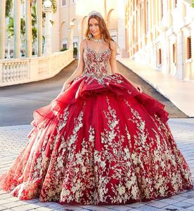 2020 Red Luxury Quinceanera Dresses Spaghetti Bling Lace Appliqued Glitter Girls Pageant Gowns Ball Gown Sweet 16 Dresses