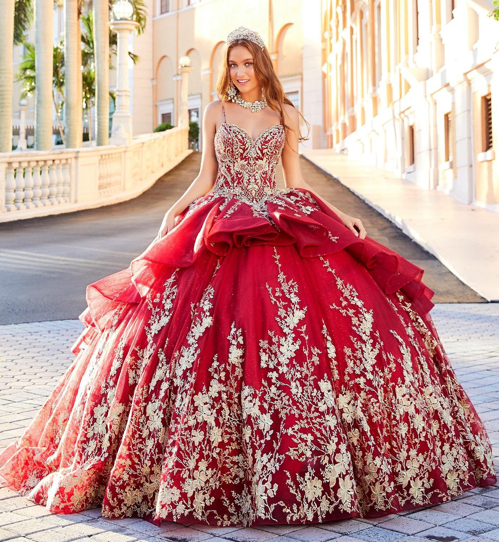2020 rouge luxe Quinceanera robes Spaghetti Bling dentelle appliqué paillettes filles Pageant robes robe de bal doux 16 robes