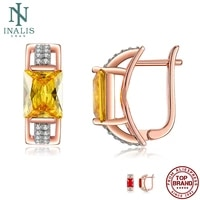 inalis rose golden earrings for women square female stud earring two color cubic zirconia anniversary day gift jewelry on sale