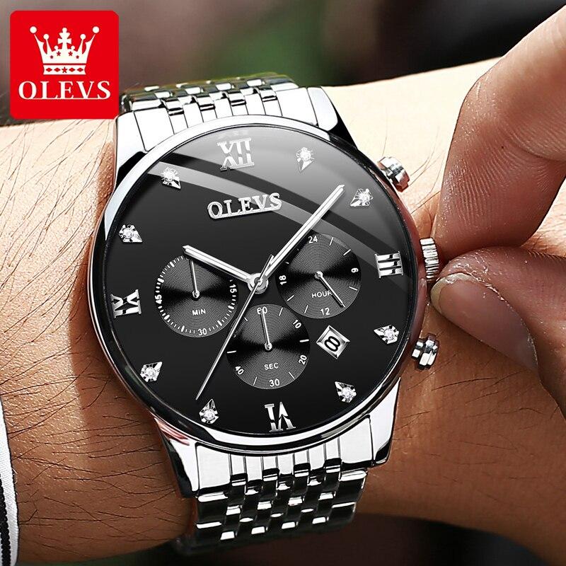 OLEVS Mens Watches Top Brand Luxury Stainless Steel Man Watch Waterproof Calendar Chronograph Quartz