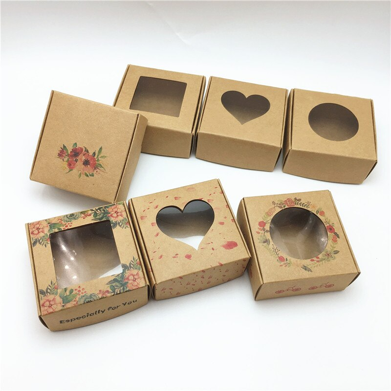 50pcs 6.5x6.5x3cm Small Kraft paper gift packaging box,kraft cardboard handmade soap candy box,personalized craft paper gift box