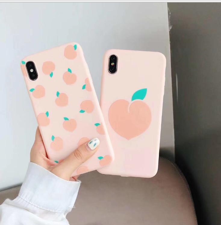 Frutas pêssego padrão casal caso de telefone para apple iphone 11 pro x xr xs max 7 8 6s plus tpu macio capa à prova de choque fundas