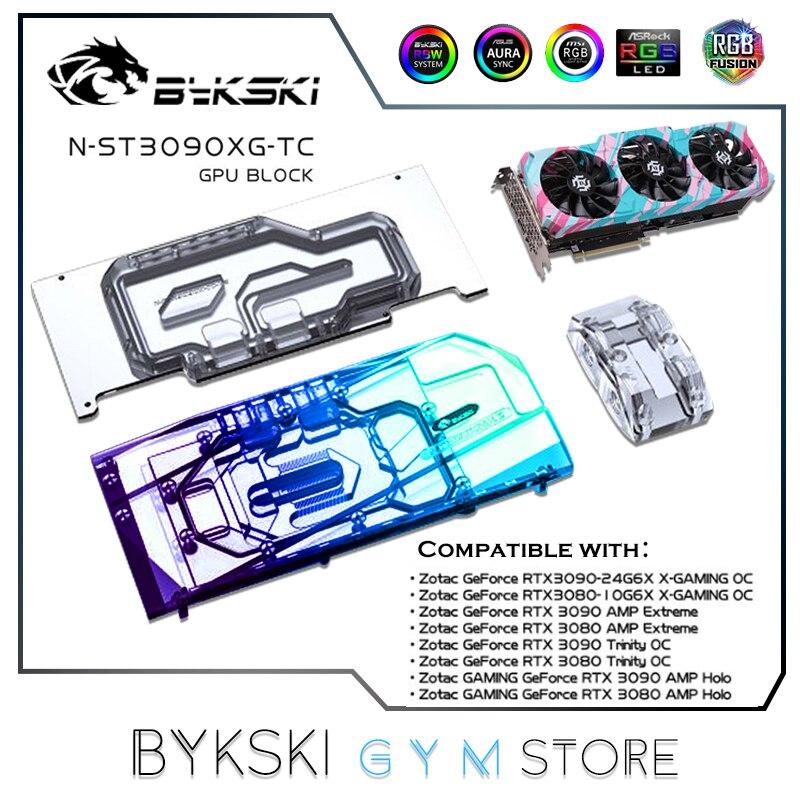 Bykski وحدة معالجة الرسومات كتلة اللوحة الخلفية النشطة ل Zotac RTX 3090 3080 الألعاب OC ، الذاكرة (VRAM) مزدوجة VGA برودة م/ب RGB N-ST3090XG-TC