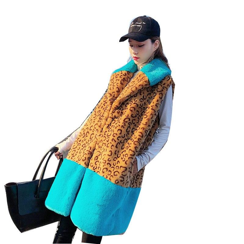 Зимний Новый Пушистый Теплый жилет, жилет, Леопардовый жилет из искусственного меха для девочек, Женский бархатный теплый меховой жилет, ли...