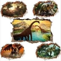 Autocollants muraux de dinosaures vifs en 3d  pour chambre denfants  decoration de la maison  affiche dart Mural danimaux  autocollants de porte