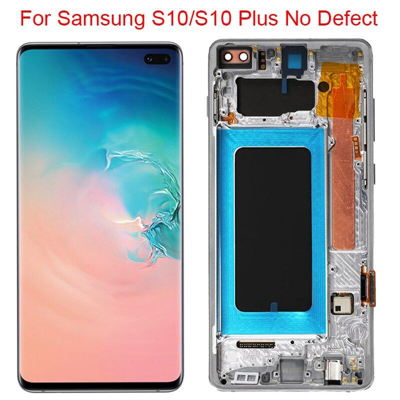 Nuevo Original S10 G973F LCD para Samsung Galaxy S10 Plus pantalla con marco 3040x1440 SM-G975A LCD pantalla táctil montaje digitalizador