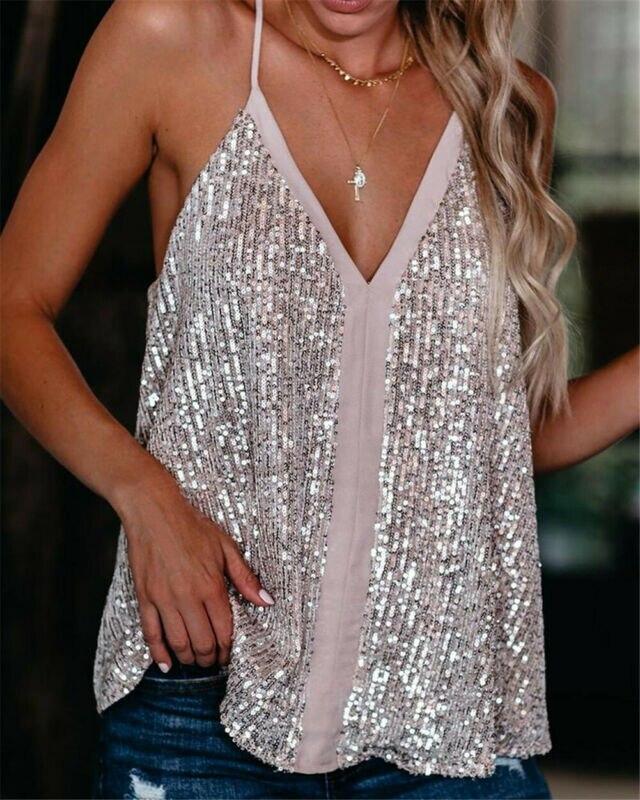 2020 nueva moda caliente camiseta Sexy para mujeres Casual cuello pico lentejuelas Camiseta de tirantes sin mangas chaleco sin mangas sólido blusa Tee ropa femenina