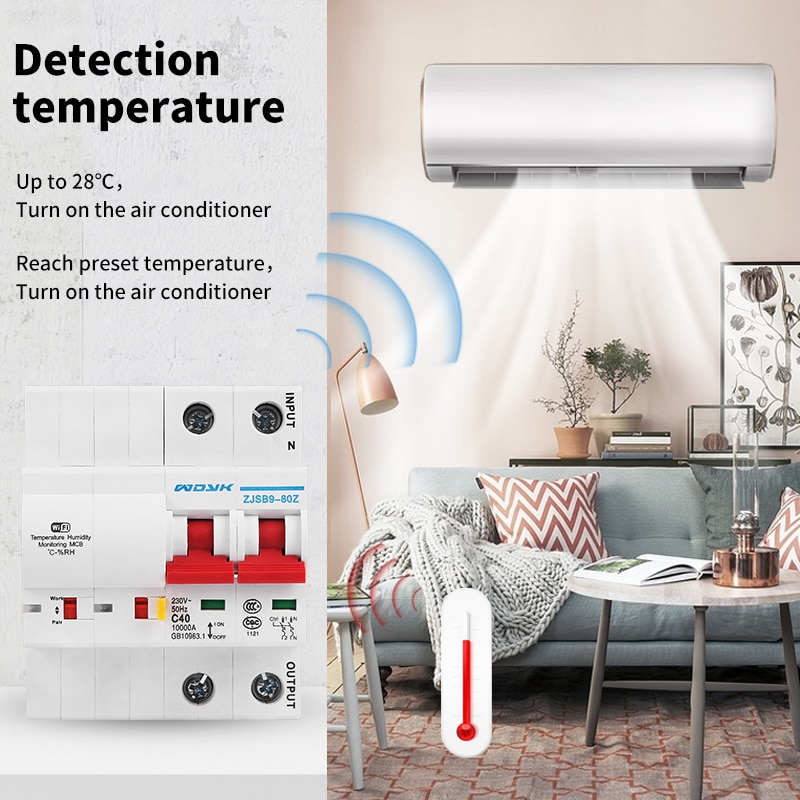 cenb1 125 type 1000v solar circuit breaker mini dc circuit breaker mcb with overload short circuit protection 125a 100a 80a 63a WiFi Smart temperature humidity Circuit Breaker overload short circuit protection with  Alexa google home for Smart Home
