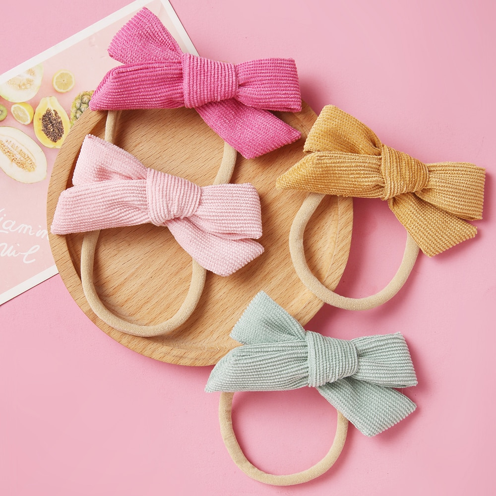 Vincha de pana de invierno con lazo o cinta para el pelo, lazo de Nylon atado a mano, diademas de regalo para Baby Shower, accesorios para el cabello para niñas 2020