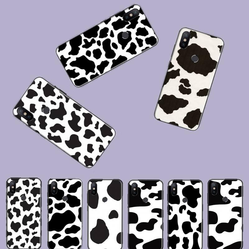 Capa para celular com estampa de vaca, capa bonita para xiaomi redmi note 4 4x 5 6 7 8, preto e branco pro s2 plus 6a pro