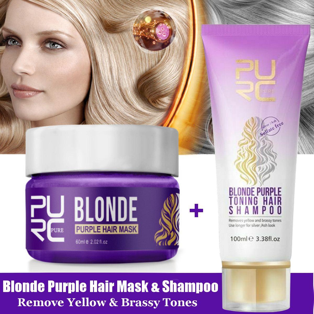 PURC-Máscara de champú de pelo púrpura, Rubio, remueve tonos amarillo y brillante para reparar cabello dañado con ceniza plateada