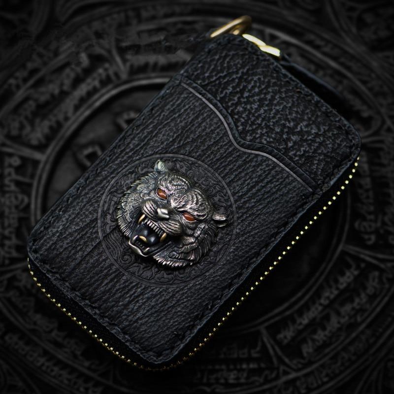 Cartera Interior con cremallera negra con llave de latón como Kurata para hombre y mujer, bolso de mano con piel de tiburón, monedero, llaves y monederos