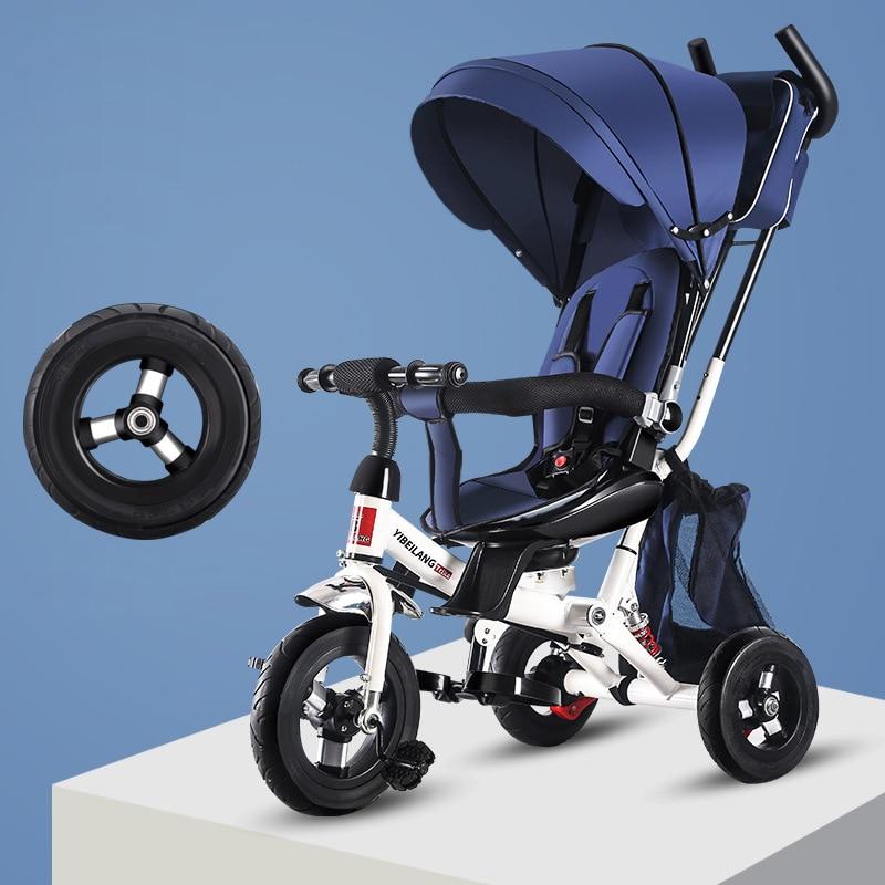 Triciclo plegable para bebé, bicicleta de tres ruedas, cochecito de bebé giratorio con asiento para bebé, cochecito para niños
