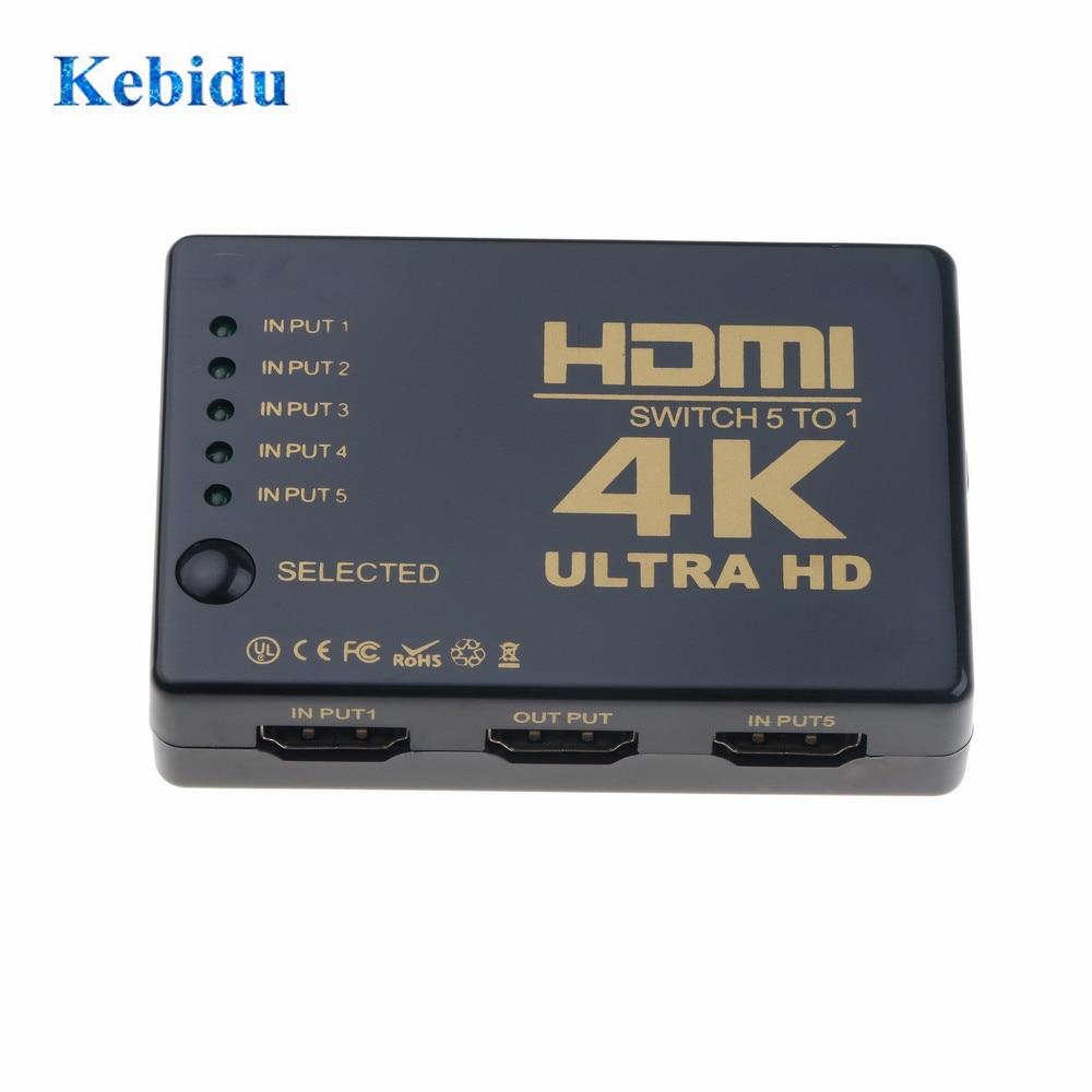 KEBIDU 4K * 2K HDMI Switch 5x1 Splitter Box Ultra HD 1080P HDMI Switcher Selector für HDTV Xbox PS3 PS4 Multimedia