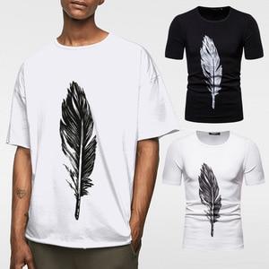 YT032 Summer Men's Clothing Large Short-Sleeved T-shirt European Round Neck Feather Printed Half Sleeve Men T Shirt