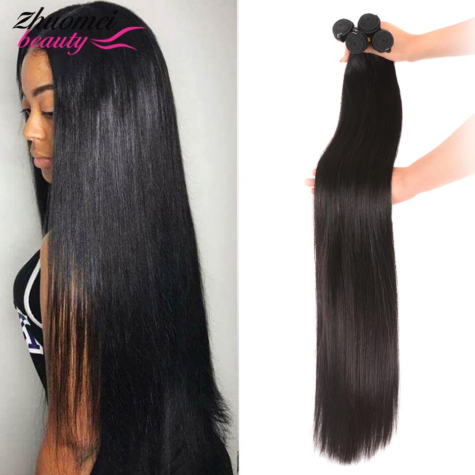 Straight Human Hair Bundles Natural Color 100% Human Hair Extensions 28 30 32 34 36 38 40Inch Remy V