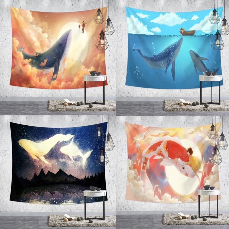 Cartoon Tapestry Wall Art Decortive Anime Valance Shark Background Cloth Children's Bedroom Tapestry Aesthetic Room Decor