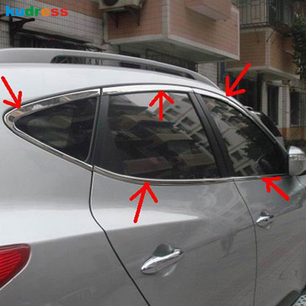 Para hyundai tucson ix35 2010 2011 2012 moldura da janela de aço inoxidável guarnição capa moldando estilo do carro acessórios 10 pçs/set