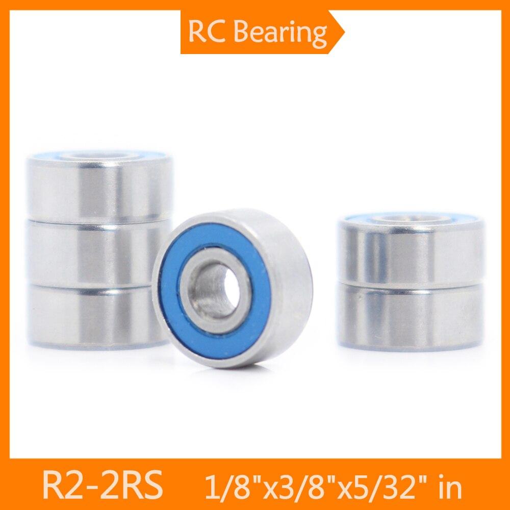 FUSHI R2-2RS Bearings Blue Sealed Inch Size , 6 Pcs ABEC-3 R2RS Shaft Ball Bearing R2 Parts For Hobb
