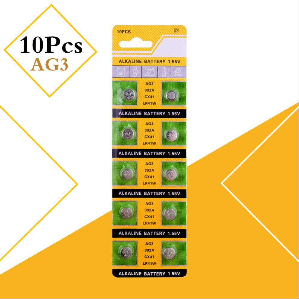 10 unids/lote AG3 LR41 392 baterías de botón SR41 192 celular moneda alcalina de la batería de 1,55 V L736 384 SR41SW CX41 para relojes de juguete remoto