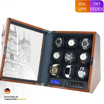 Luxury 9 Slot Automatic Watch Winder LCD Control Watches Wood Boxes Brown Glossy Lacquer Battery Powered Wooden Watch Box Gift