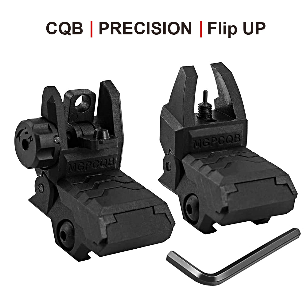 Фото - Flip Up Iron Sight Low Profile Front Rear Sight Compatible for Picatinny Rail Black Pop Up Backup Sights folding tactical flip up sight rear front sight mount transition backup iron sight rapid rifle rts for paintball accessories
