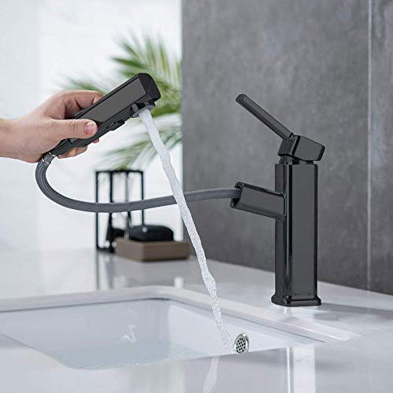 Смесители для раковины в ванной комнате RUYAGE, смеситель для раковины, выдвижной смеситель для воды в ванной комнате, хромированный латунный ...