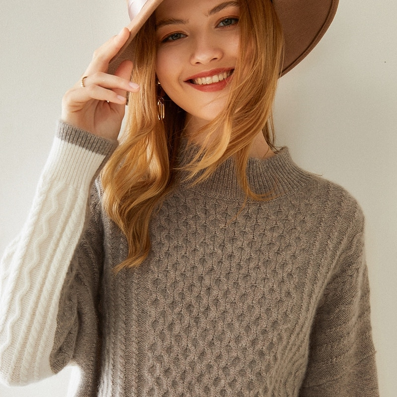 2020 nuevo 100% pure mountain cachemir suéter empalmado señoras pullover