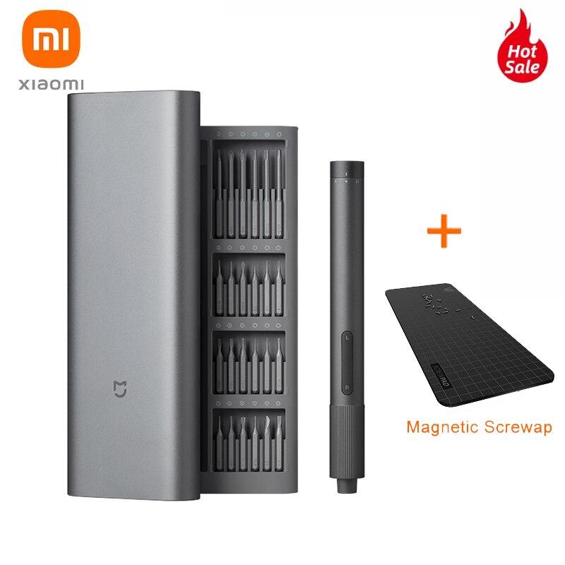 Xiaomi Mijia-مجموعة مفكات كهربائية دقيقة ، 2 تروس ، تحكم في عزم الدوران 400 ، برغي 1 من النوع C ، علبة ألومنيوم مغناطيسية قابلة لإعادة الشحن