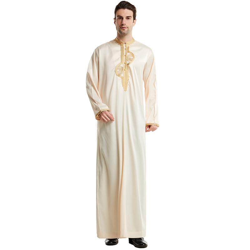 Muslim men's robe Saudi Arabia embroidered lace men's robe Islamic ethnic prayer casual loose large size long dress Greek dress