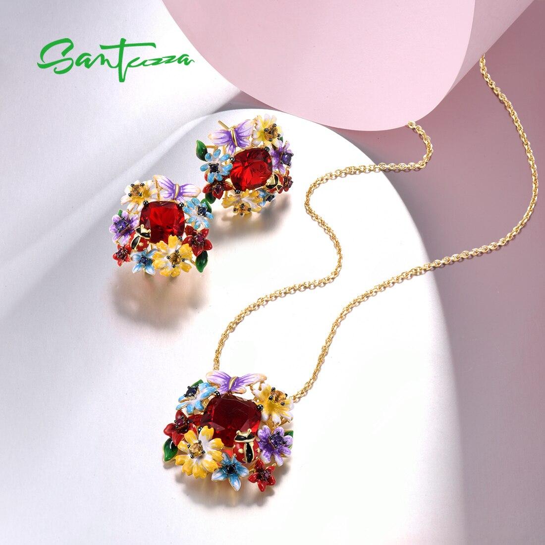 SANTUZZA 925 Sterling Silver Jewelry Set For Women Red Stone Colorful Flowers Earrings Pendant Set Fine Jewelry Handmade Enamel