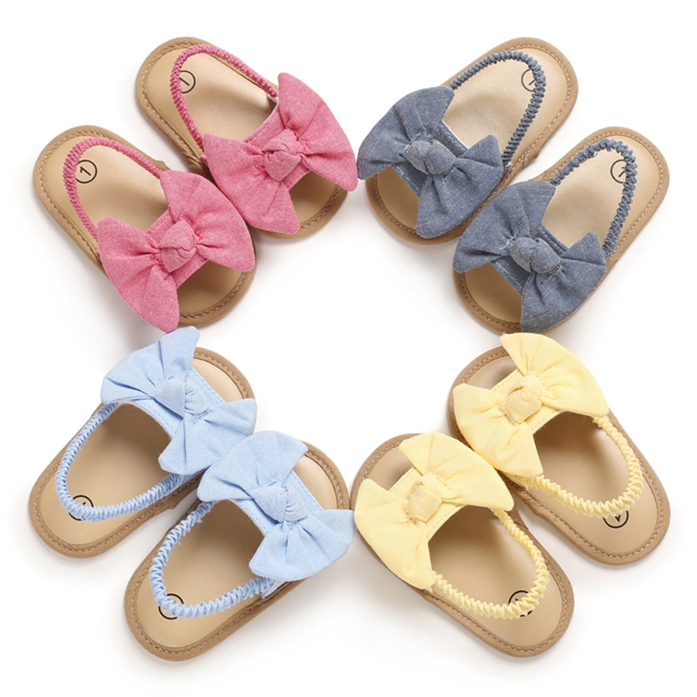 2020 Baby Girls Bow Knot Sandals Cute Summer Soft Sole Flat Princess Shoes Infant Non-Slip First Wal