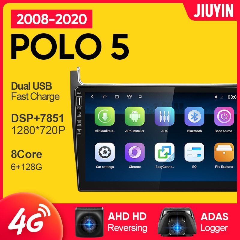 JIUYIN 1 din android For vw Volkswagen POLO 5 2008 - 2020 car radio multimedia video player car navigation GPS No 2din 2 din dvd