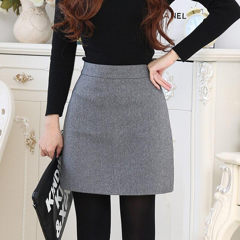 Saia feminina cintura alta, corte reto mini saia de lã jupe femme outono inverno 2019