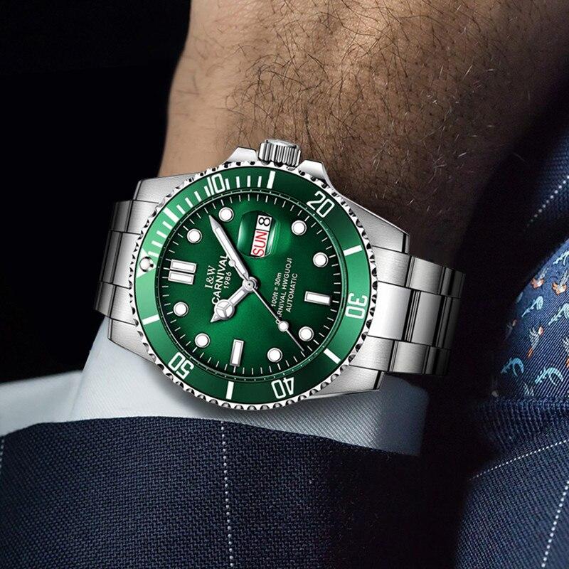 CARNIVAL Brand Military Watches Men Luxury Waterproof Fashion Mechanical Wristwatch Luminous Automatic Clock Relogio Masculino enlarge