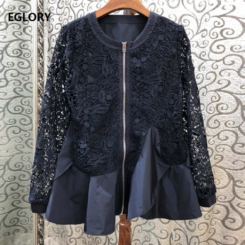 Chaquetas de alta calidad 2020 otoño moda Rebeca mujer ahueca hacia fuera encaje bordado Patchwork manga larga cremallera abrigo